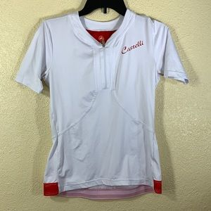 Castelli Cycling Jersey Top Blouse White Red L